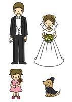 ウエディング姿の新郎新婦と女の子と犬