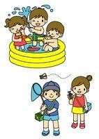 プール遊びとセミとりをしてあそぶ子供たち