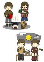 秋刀魚を焼く子供と十五夜でお月見をする子供 10468000048| 写真素材・ストックフォト・画像・イラスト素材|アマナイメージズ