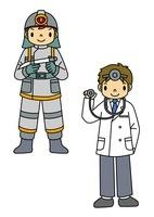 消防士と医者 10468000050| 写真素材・ストックフォト・画像・イラスト素材|アマナイメージズ