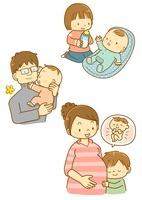 子育てをする家族と子供たち