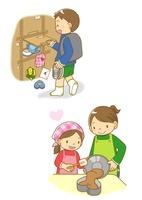バレンタインのチョコをもらう男の子とケーキを焼く女の子