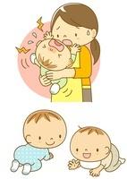 泣いている赤ちゃんをあやすママとはいはいする子 10468000056| 写真素材・ストックフォト・画像・イラスト素材|アマナイメージズ