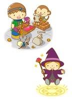 宝探しをする男の子と魔法使い 10468000060| 写真素材・ストックフォト・画像・イラスト素材|アマナイメージズ