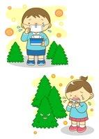 花粉症の男の子とくしゃみをする女の子