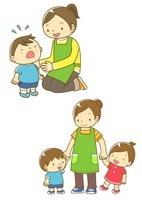 泣いている園児と先生と園児と手をつなぐ先生 10468000062| 写真素材・ストックフォト・画像・イラスト素材|アマナイメージズ