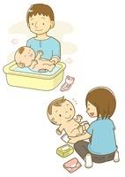 赤ちゃんをお風呂に入れるお父さんとオムツがえ 10468000063| 写真素材・ストックフォト・画像・イラスト素材|アマナイメージズ