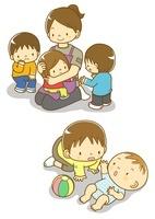 保育園の先生と子供たち寝ている赤ちゃんと子供