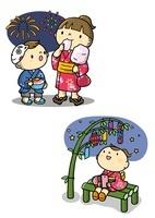 夏祭りで花火を見るこどもと七夕の女の子