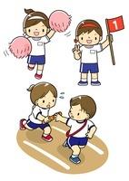 運動会で応援をする子供と1位の子と走る子供