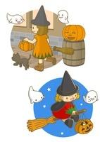 ハロウィンの魔女の服を着た女の子
