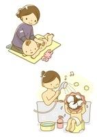 ベビーマッサージをする親子とお風呂に入る親子 10468000082| 写真素材・ストックフォト・画像・イラスト素材|アマナイメージズ