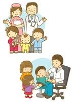 小児科のお医者さんと看護師さんと子供たち