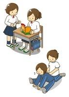 勉強する女子中学生とストレッチする生徒
