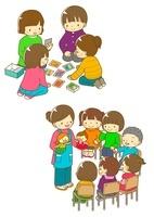 カルタをする子供たちとパペット劇を見る子供たち 10468000099| 写真素材・ストックフォト・画像・イラスト素材|アマナイメージズ