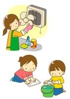換気扇の掃除をするお母さんとふき掃除をする子供