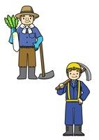 農家の人と工事現場の人