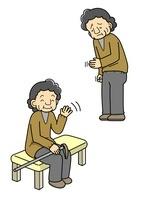 元気な老人と手が震えて元気がない老人 10468000110| 写真素材・ストックフォト・画像・イラスト素材|アマナイメージズ