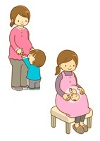 マタニティの女性と子供