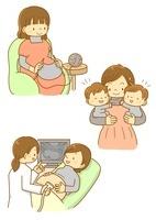 双子のママと赤ちゃんの様子を見るお医者さん