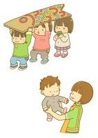 こいのぼりを持つ子供たちと保育士さんと赤ちゃん