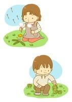 タンポポで遊ぶ女の子とフキノトウをつむ男の子
