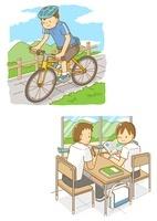 自転車に乗る男の子と自習をする中学生男子