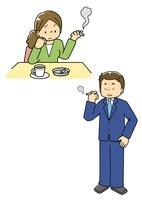 喫煙する男性と女性 10468000132| 写真素材・ストックフォト・画像・イラスト素材|アマナイメージズ