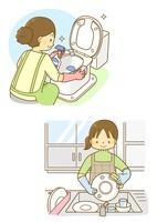 トイレ掃除と皿洗いをするホームヘルパーさん