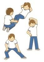 屈伸や腹筋、ストレッチをする男子中学生 10468000139| 写真素材・ストックフォト・画像・イラスト素材|アマナイメージズ