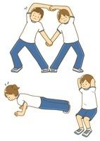 腕立て伏せやスクワットストレッチをする中学生 10468000140| 写真素材・ストックフォト・画像・イラスト素材|アマナイメージズ