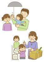 節電する家族と買い物を控える家族