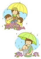 傘をさした先生と園児と雨の中散歩する親子
