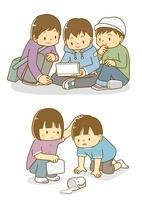 ゲームをする子供たちと牛乳をこぼす子供 10468000148| 写真素材・ストックフォト・画像・イラスト素材|アマナイメージズ