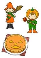ハロウィンの仮装をする子供たちとパンプキンパイ