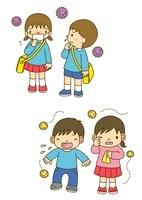 風邪をひいた幼稚園児とアレルギーでくしゃみをする子供 10468000156| 写真素材・ストックフォト・画像・イラスト素材|アマナイメージズ