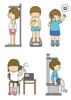 身体測定で身長や体重や聴力視力座高を測る小学生