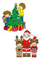 クリスマスツリーを飾りつける子供とサンタクロース