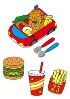 お子様ランチとハンバーガーとドリンクとポテト