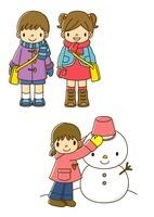 冬の服装をする子供と雪だるまを作る子供
