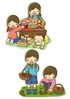 おひなさまを飾る姉妹とイースターエッグを探す子供たち