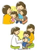 立ち話をするママ友と診察をする小児科の先生