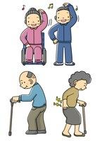 体操をするおじいさんとおばあさんと腰痛で杖をつくおばあさん