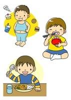食べすぎて肥満になった子供とおいしくご飯を食べる子供