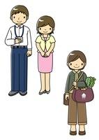 クールビズのサラリーマンとOLとエコバッグで買い物する女性