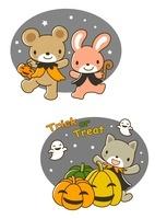 ハロウィンのクマとウサギと猫