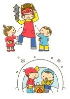 豆まきをする保育士と園児とカマクラで遊ぶ子供