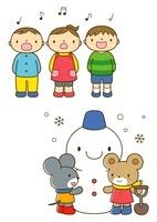うたを歌う保育園児と雪だるまを作るネズミとクマ