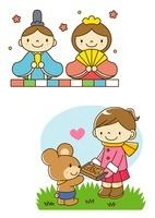 おひなさまかざりとバレンタインチョコを渡す女の子