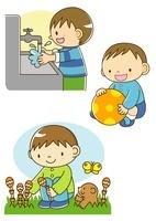 手を洗う男の子とボール遊びと春の野原でつくしをつむ子